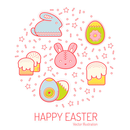 Vector illustration with outlined Easter icons forming a circle Illustration