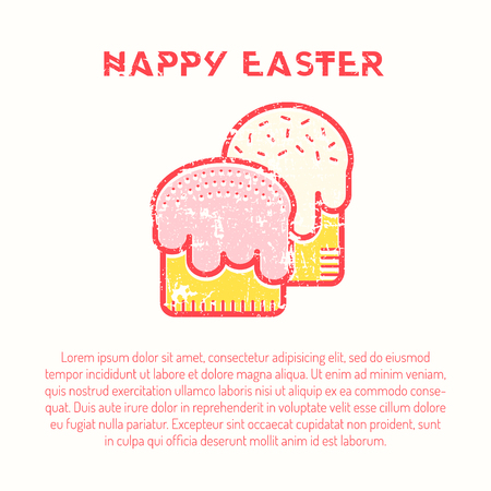 Happy Easter Greeting Card Template With Easter Cake Royalty Free