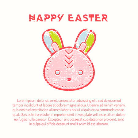 Happy easter Greeting card template with Easter bunny Illustration