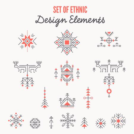 Set of ethnic design elements, logo templates - line style ancient symbols
