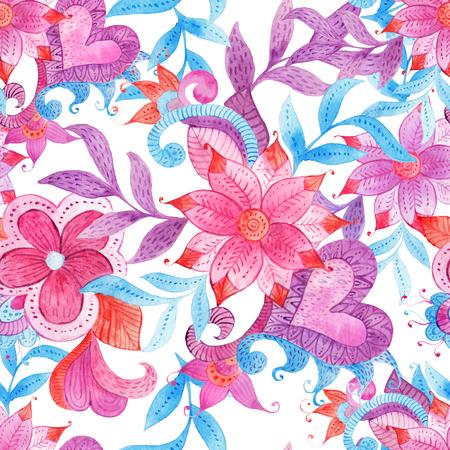 カラフルな手で抽象的なシームレスな花柄には、水彩ファンタジーの葉と花が描かれています。自由奔放に生きるスタイル、ファブリック、スクラップブッ キング、包装紙、挨拶、招待状カードのデザイン テンプレートの華やかな背景の飾りです。 写真素材 - 75155577
