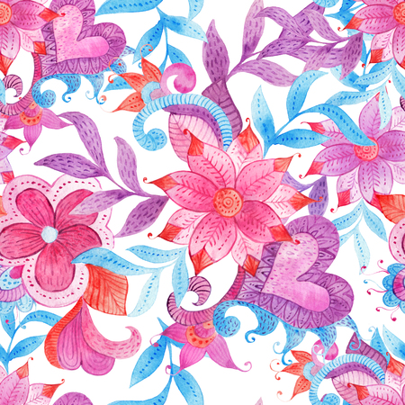 Abstract seamless floral pattern with colorful hand painted watercolor fantasy leaves and flowers. Boho style, ornate background ornament for Fabric, Scrapbooking, Wrapping Paper, Greeting and invitation card Design Template.
