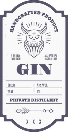 Vintage alcohol drink label design with ethnic elements in thin line style. Çizim