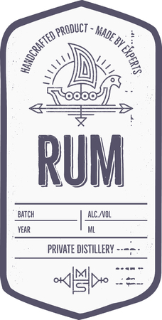 Vintage alcohol drink label design with ethnic elements in thin line style. Illustration
