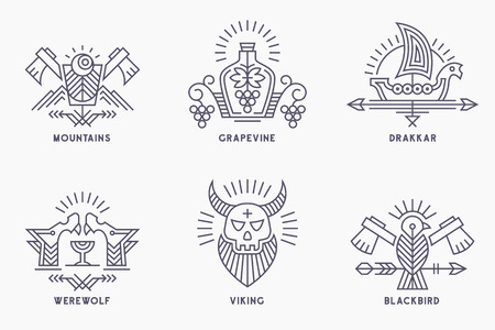 Set of vintage vector logo templates with ethnic elements in thin line style.