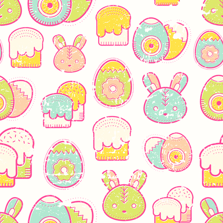 Cute Easter seamless pattern with Easter eggs, rabbit, Easter bunny and Easter cakes.