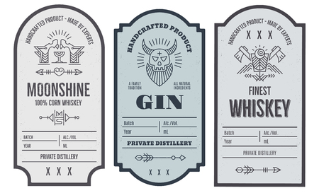 Set of intage bottle label design with ethnic elements in thin line style.
