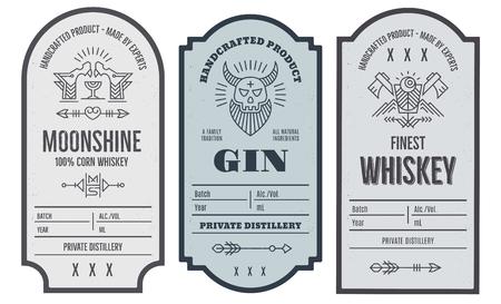 Zestaw projektowania etykiet butelki intage z elementami etnicznych w stylu cienkiej linii.