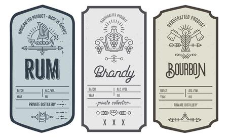 Ensemble de conception d'étiquette de bouteille d'entrée avec des éléments ethniques en fin de ligne.