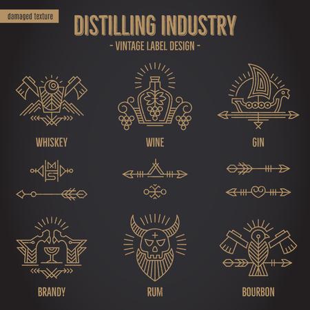 細い線スタイルの民族要素を持つヴィンテージ アルコール飲み物シンボルのセットです。  イラスト・ベクター素材