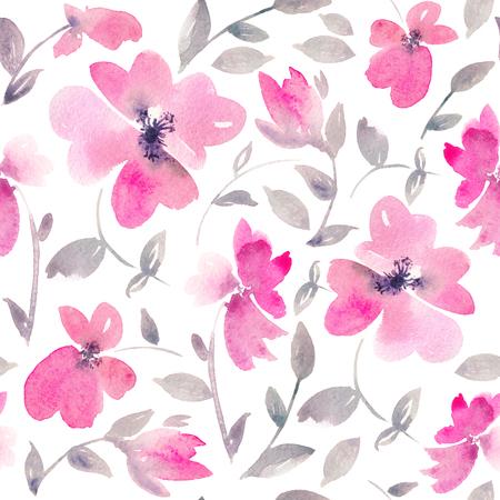 ロマンチックなピンクの花のシームレスなパターン。