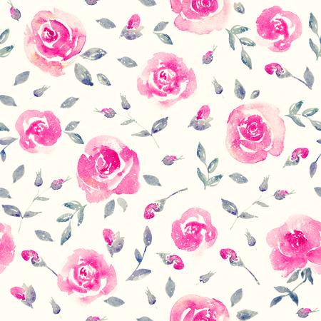 ロマンチックなピンクのバラ - 花のシームレスなパターン。
