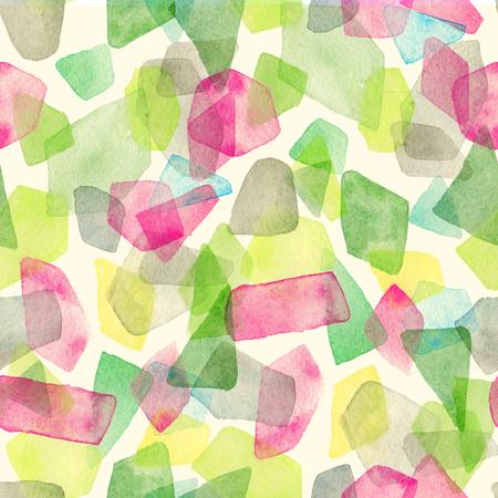 Naadloos aquarel patroon met overlappende kleurrijke stippen - rode, groene, grijze tinten.
