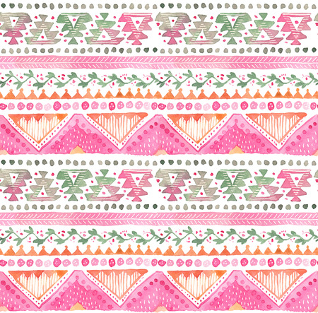 Seamless hand-drawn Watercolor Ethnic Tribal Ornamental Pattern. Zdjęcie Seryjne - 81241919