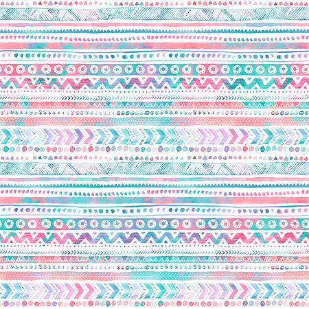 Seamless hand-drawn Watercolor Ethnic Tribal Ornamental Pattern. Reklamní fotografie - 81242017