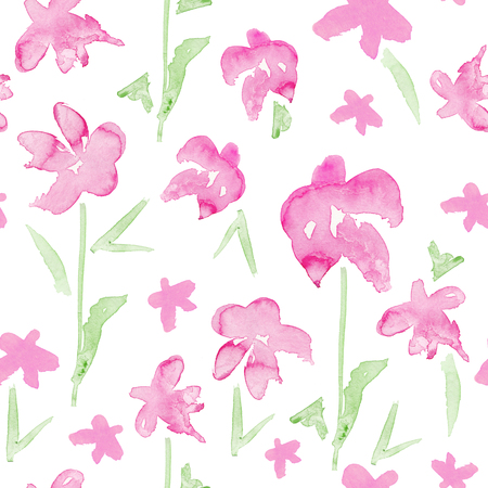 ロマンチックなピンクの花のシームレスなパターン - 壊れやすい花の水彩画
