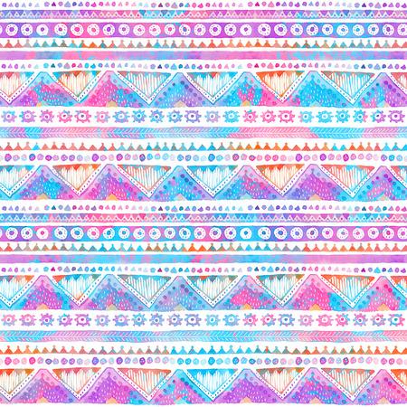 완벽 한 손으로 그린 수채화 부족의 장식적인 패턴입니다.