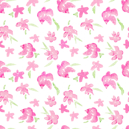 Romantic Pink Floral seamless Pattern - watercolor fragile flowers
