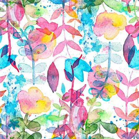 手描き水彩の花と葉で幸せと明るい花のシームレスなパターン