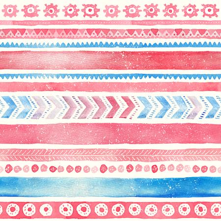 シームレスな手描き水彩民族部族装飾的なパターン。 写真素材