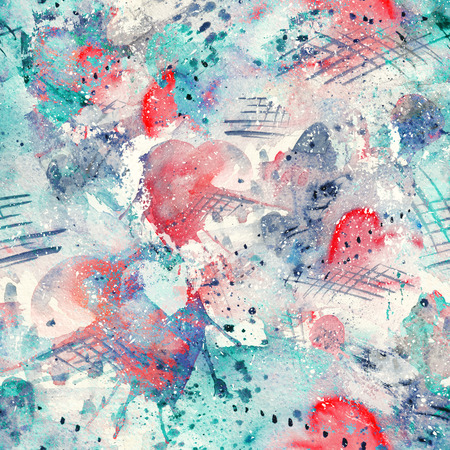 Abstract watercolor seamless pattern with splatter spots, lines, drops, splashes and hearts 스톡 콘텐츠