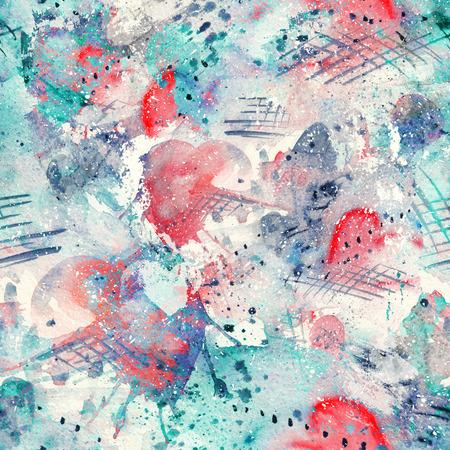 Modèle sans couture aquarelle abstraite avec des taches, des lignes, des gouttes, des éclaboussures et des coeurs d'éclaboussure Banque d'images - 83279107