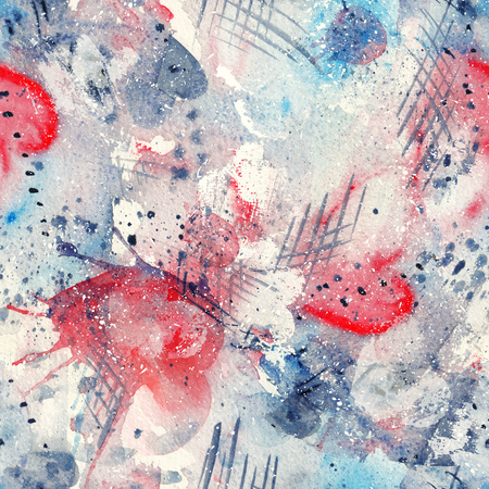 スプラッタ スポット、ライン、滴、飛沫心と抽象的な水彩シームレス パターン 写真素材