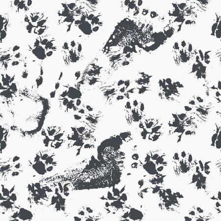 Motif synthétique abstrait - l'encre noire s'imprime avec des pattes de chat désordonnées. Vecteurs