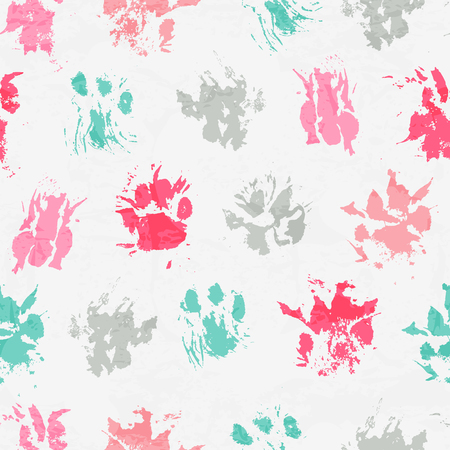 Abstract seamless pattern - black ink prints with messy cat paws.