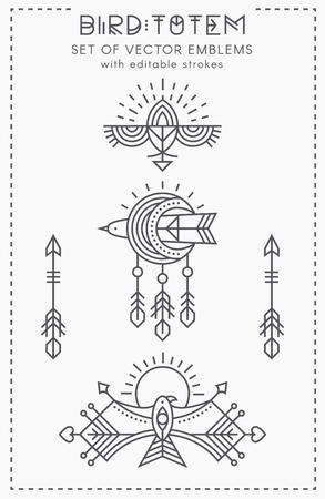 Set of Flying Bird Logo design, geometric tribal archaic emblems