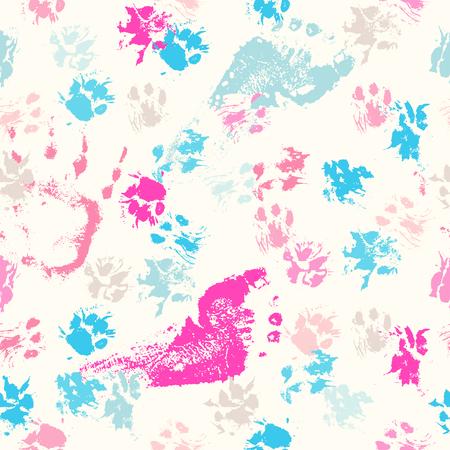 Abstract naadloos patroon - zwarte inkt afdrukken met rommelige kat poten. Vector Illustratie