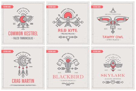 Bird Logo design with decorative elements, geometric tribal archaic set of emblems Ilustracja