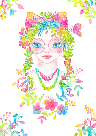 Whimsical young girl portrait with pink round glasses, blooming flower hair and cute ears decorated with floral ornament