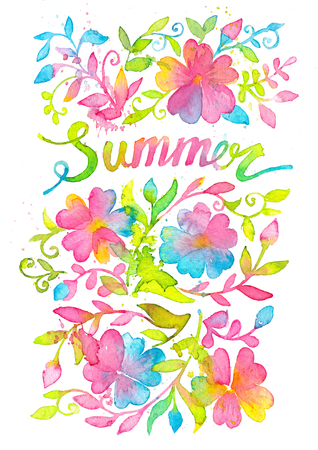 Bright and happy summer lettering design drawn with watercolors.