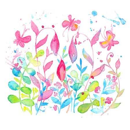 明るく幸せな夏水彩絵の具で描かれた花柄のデザイン。