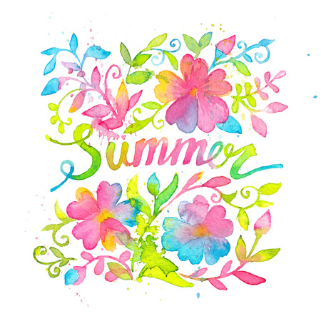 Bright and happy summer lettering design drawn with watercolors. Crazy bright and happy summer card template decorated with blooming floral ornaments. White beckground, Square format