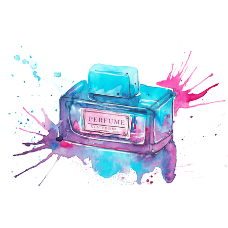 Perfume bottle, hand drawn fashion illustration drawn with watercolors. Turquoise, pink, purple, bright colors. Isolated on white Stock Photo
