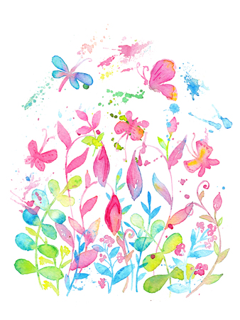 Bright and happy summer floral design drawn with watercolors. Crazy bright and happy summer card template decorated with blooming florals and butterflies. White beckground, vertical format