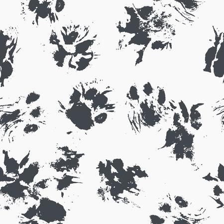 抽象的なシームレス パターン - 厄介な猫の足に黒のインクを印刷します。