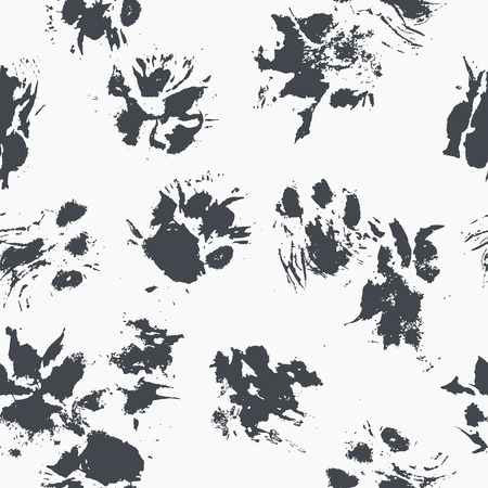 Abstract seamless pattern - black ink prints with messy cat paws. Reklamní fotografie - 83241959