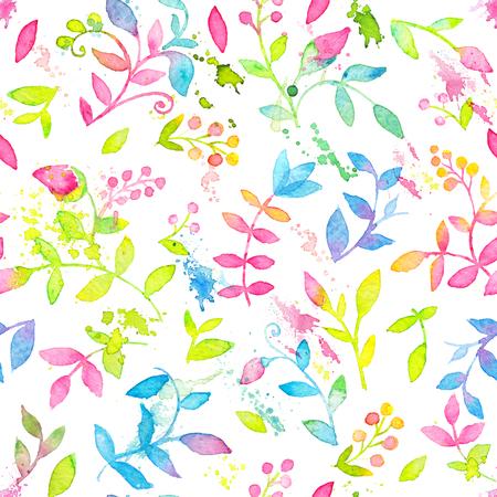 手描きの水彩花と葉と幸せで明るい花のシームレスなパターン
