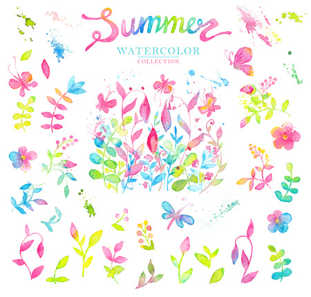 Set of bright and happy summer floral design elements drawn with watercolors. Stock Photo