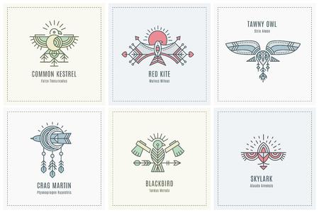 Set Flying Bird-ontwerp, geometrische tribale archaïsche emblemen