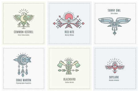 Set of Flying Bird design, geometric tribal archaic emblems Ilustracja