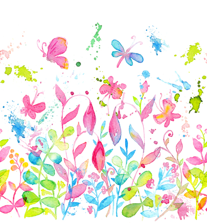 Happy and bright floral seamless pattern with hand drawn watercolor flowers and leaves