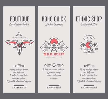 Conjunto de plantillas de tarjeta vintage en estilo bohemio único con elementos arcaicos. Foto de archivo - 88322961