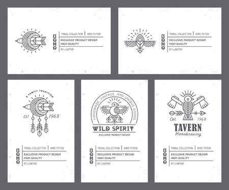 Set of vintage card templates in unique bohemian style with archaic elements. Ilustrace