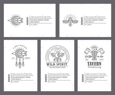 Set van vintage kaartsjablonen in unieke Boheemse stijl met archaïsche elementen.