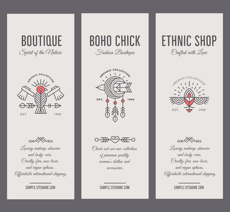 Set of vintage card templates in unique bohemian style with archaic elements. Illustration