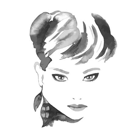 기털, boho 작풍을 가진 아름다운 여자 초상화